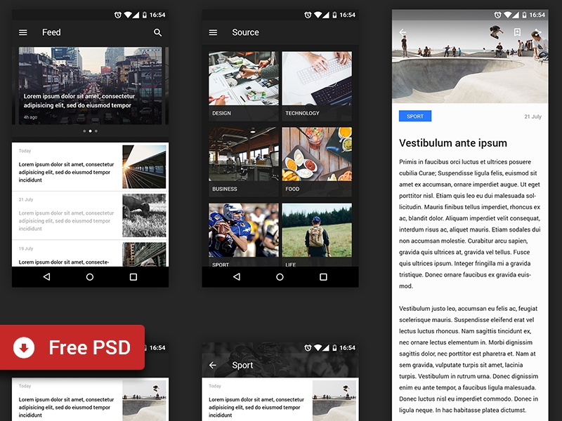 Freebie - Reader UI kit (Android) ui android material design reader freebie