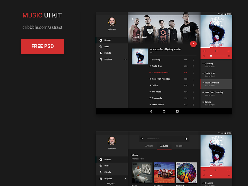 Music UI kit for Android - Freebie freebie music ux ui material design android