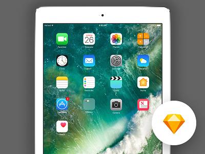Free Sketch template - iOS 10 - iPad Pro 9.7 - v1 sketch ipad ui kit free