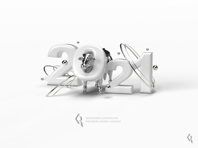 2021 poscard dailyillustration illustration graphicdesign minimal space white monochrome metalic metal cow newyear 3d art 3d artist 3d adobedimension