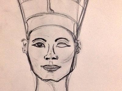 Nefertiti artwork pencil drawing hand drawn illustration