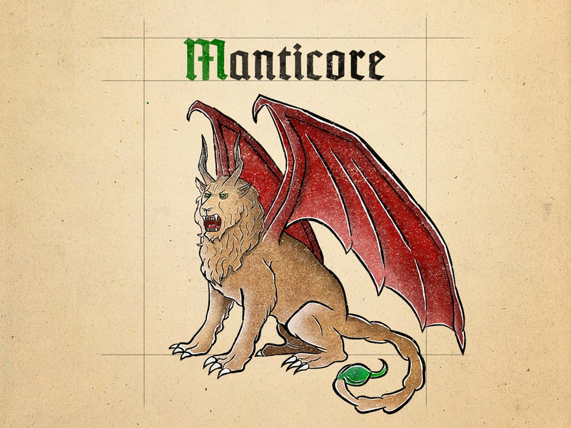 Manticore - The Witcher manticore gothic typography witcher the witcher mythology mythical creature medieval manuscript illustration