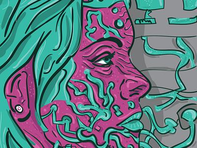 Cyborg   Vector illustration character portrait ink cyborg artwork 2d character abstract cyberpunk future vectors poster print flat illustration pink illustrator digital 2d composition portrait vector inking art