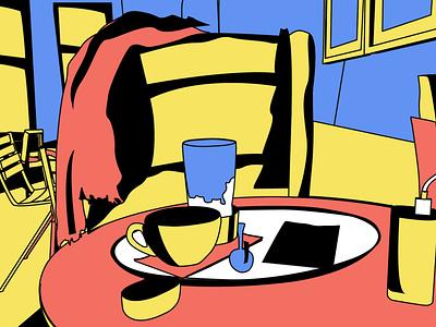 London cafe memories illustration pastel colorful comics style cafe comics painting vector flat style print design print 2d abstract art pop art modern art poster pattern texture illustrator pastel color pastel orange blue future
