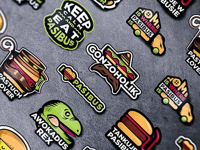 Art stickers, illustrations for Pasibus burger restaurant illustration ink modern restaurant tattoo design food illustration illustrator food truck meat sticker food egg burger flat style paintings print poster digital art