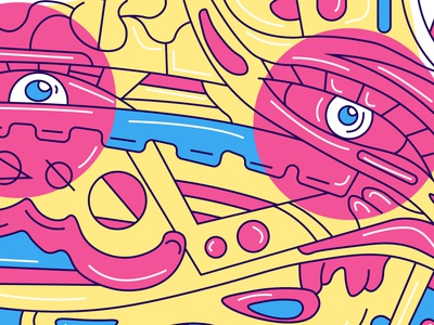 Abstract portrait illustration colorful pastel comics style comics print poster geometric painting vector flat style print design abstract art modern lineart ink pattern texture pastel colors yellow eye face tattoo design blue