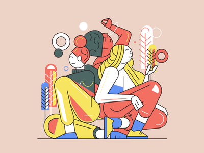 Only girls DTIYS Challenge 2d digital art illustrations composition modern pattern art geometric painting flat style strike concept print poster vector creative challange girls illustrator illustration