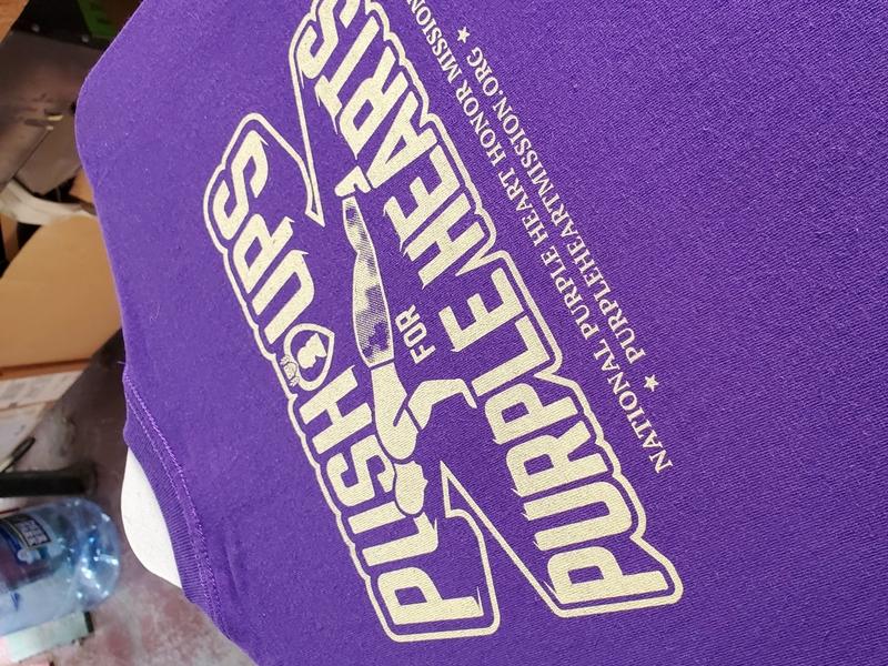 Push-ups for Purple Hearts fundraiser military purple heart logo screen print screenprint