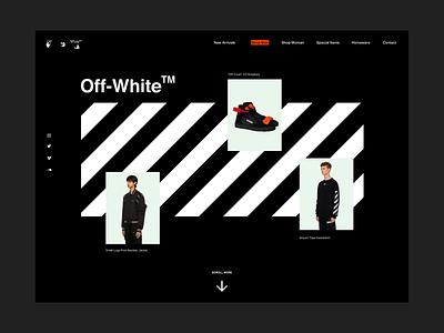 Off-White Concept web design website showcase black dark white typography concept layout interface ux ui