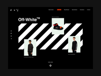 Off-White Concept web design website showcase black dark white typography concept layout interface ux ui