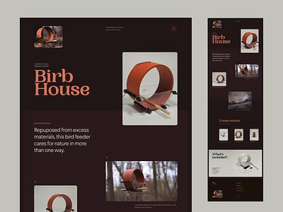 Bird Feeder Concept web website brown dark concept typography layout interface ux ui