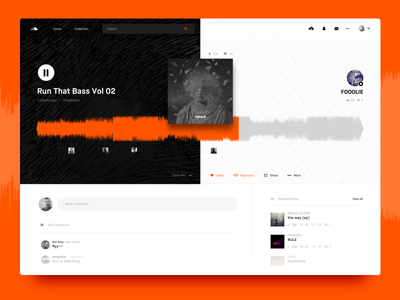 Soundcloud Song Layout / UI Challenge — Week 07 web black ui ux white soundcloud player play music dashboard clean app