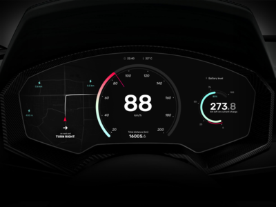 Electric Car Dashboard—UI Weekly Challenges S02 [4/10] flat battery speedometer map electric dashboard car ux ui dark