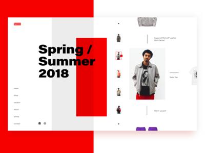 Supreme Concept flat fashion concept ux ui supreme interface minimal red white