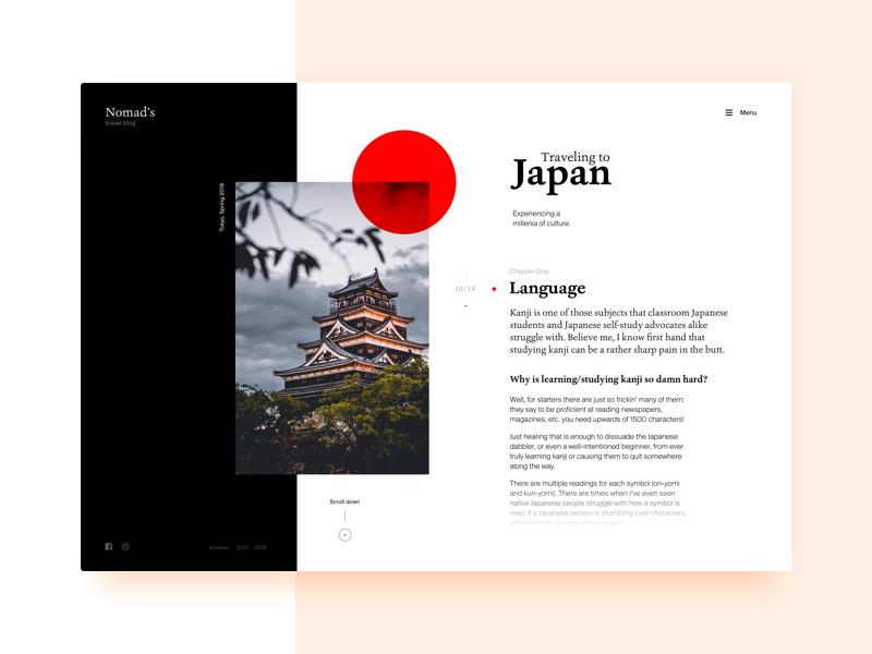 Blog Layout—Travel to Japan layout blog japan flat showcase concept ux ui black travel interface white