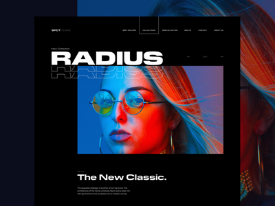 Radius Layout Experiment wide ux ui typo pilat man layout interface glasses font flat color