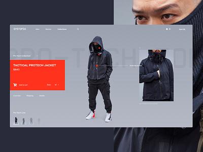 Dystopian Clothing E-Store tech dystopian e-commerce design typography concept layout interface ux ui