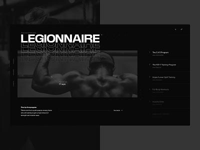 Legionnaire Body Improvement Studio showcase fitness design black dark typography concept layout flat interface ux ui