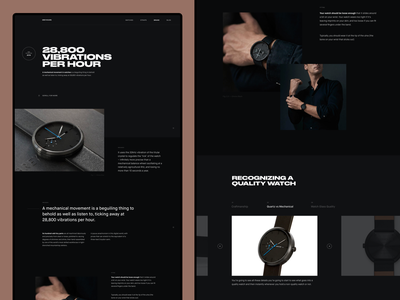 Watch Product Page web webdesign design showcase dark typography layout concept flat interface ux ui