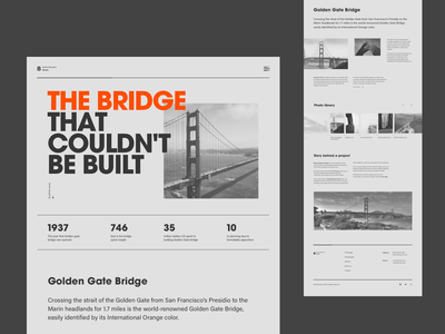Golden Gate Bridge Editorial web design newspaper light typography layout concept flat interface ux ui