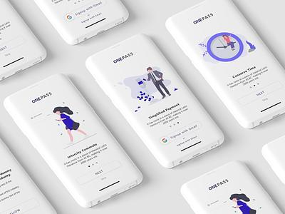 OnePass | Intercity Transportation App ola uber interface illustration minimal transportationdesign transport app uiuxdesign uiux ux ui