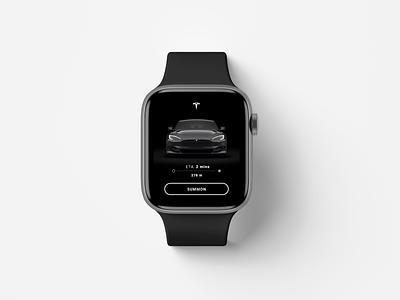 Tesla Summon | Apple Watch smartwatchapp smartwatch applewatch elonmusk branding concept interface dribbble mockup teslasummon summon tesla branding minimal ux ui