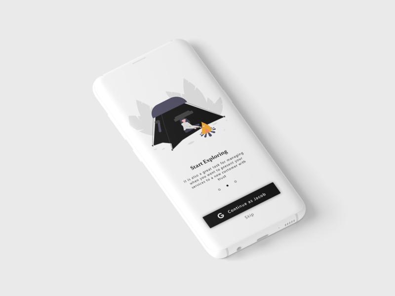 Walkthrough mobile app app mobile ui explore vector design dribbble mockup interface illustration branding minimal ux ui
