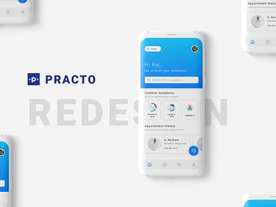 Practo | Medical App (Redesigned) redesigned mockup design designs redesign medical app practo appdesign ux ui design uxdesign uidesign uiux interface app design branding dribbble minimal modern ux ui