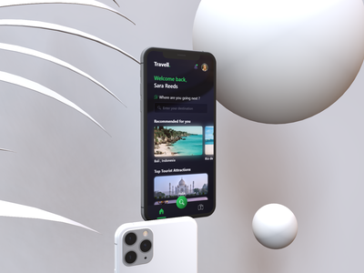 Travell. | App vacation concept 3d travel design mockup minimal ux ui