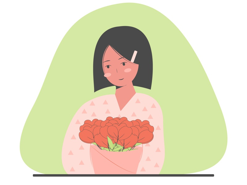 Girl with flowers vector girl design character character design girl illustration graphic design flat illustration adobe illustrator