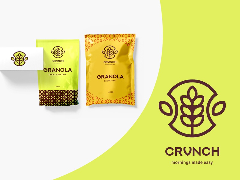 Crunch Granola Packaging & Branding graphic design food packaging design package packaging dailylogochallenge vector logodesign logodaily logo illustration flat design branding granola bar granola