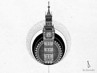 Big Ben tattoo blackart engraving linework blackwork