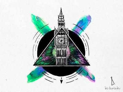 Big Ben. Color bigben color tattoo blackart engraving linework blackwork