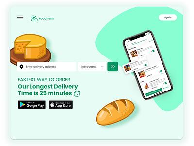 Food Kwik - Food Delivery Website ui typography logo illustration icon food app food design branding app