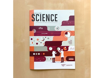 Virginia Tech Science Magazine - Cover abstraction character person people pie chart magazine grid research pattern geometric abstract scientist science data editorial