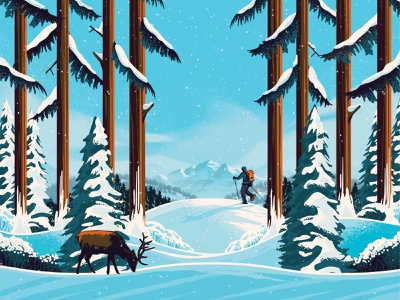 Clif Bar - Seasonal Flavor Illustration shadow deer hike snow winter outside sustainable wrapper design packaging illustration mountain landscape outdoors tree nature