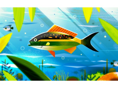 Sea Life lighting light glow blur aquatic underwater water plants fish ocean texture nature