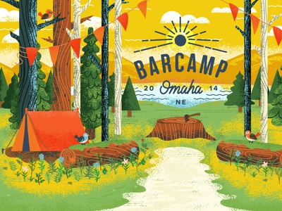 Barcamp Illustration landscape camping camp barcamp omaha outdoors nature plants trees animals wood flowers