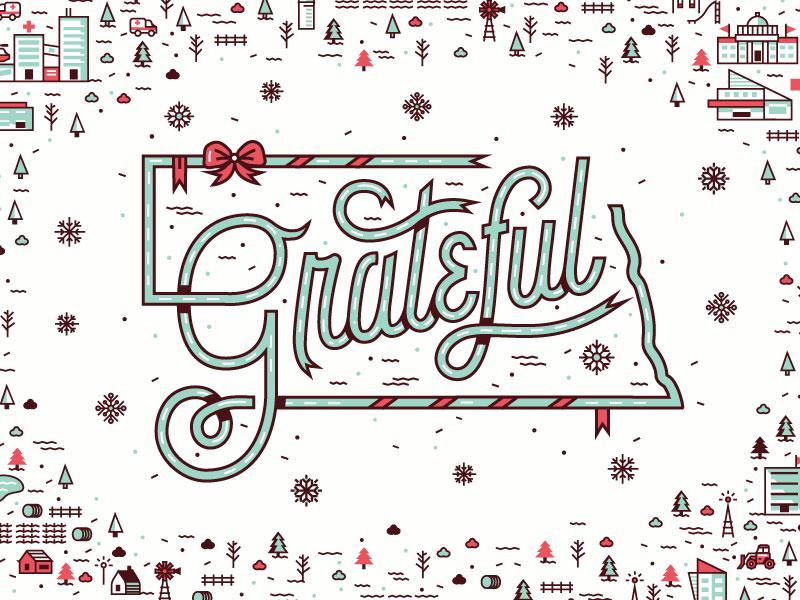 Grateful - Nebraska Holiday Ad  holiday holiday ad happy holidays grateful university nebraska illustration typography print landscape snowflakes ribbon