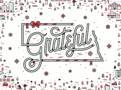 Grateful - Nebraska Holiday Ad  holiday holiday ad happy holidays grateful university nebraska illustration typography print landscape snowflakes ribbon