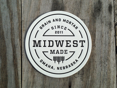 Midwest Made Letterpress Coasters grain and mortar design letterpress coaster badge midwest midwest made omaha nebraska