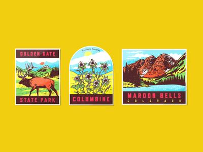 Vintage Colorado Travel Stickers vintage colorado travel sticker elk state park vinyl outdoors nature mountain plant deer