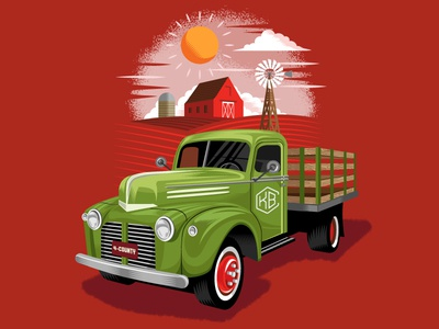 4-County Pale Ale windmill barn pickup illustration farm truck pale ale beer label beer
