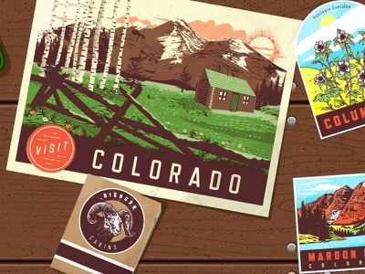 Fonts.com Hero Image refrigerator woodgrain matchbook cabin mountain stickers postcard hero fonts.com illustration colorado vintage