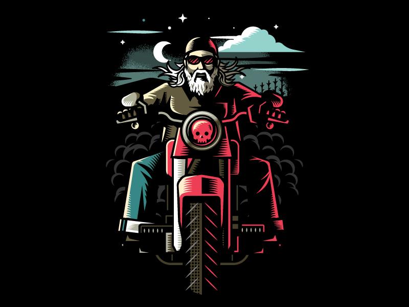 Dan The Wiser Kolsch night rider chopper smoke moon skull motorcycle biker kolsch beer label beer illustration