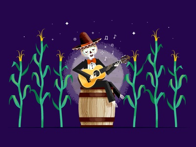 Day of the Dead - WIP mariachi stars night music guitar barrel moon corn stalk skeleton day of the dead