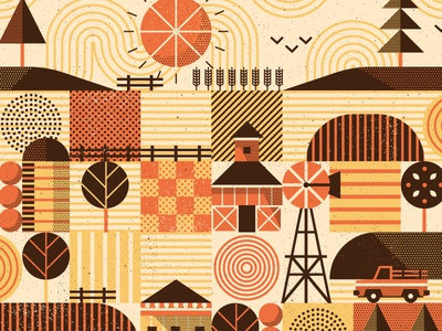 Midwest Poster WIP flat trees texture pattern truck fence crops barn midwest farmland