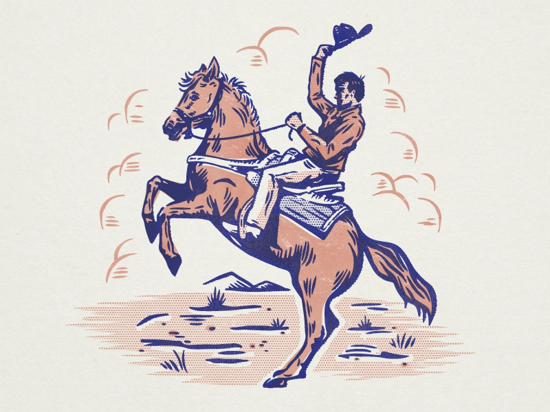 Vintage Cowboy hat saddle desert clouds bronco bucking cowboy western halftone horse vintage