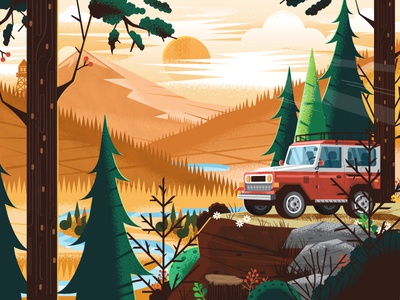 Lookout  land cruiser adventure mobile truck landscape plants trees cliff forest mountain outdoors nature scenic