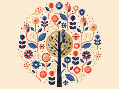 Floral Print wood leaf plants circle pattern flower floral folk tree bird bluejay